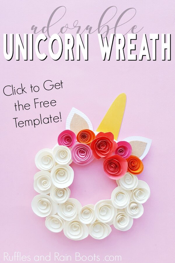 gorgeous unicorn craft on pink background with text which reads adorable unicorn wreath