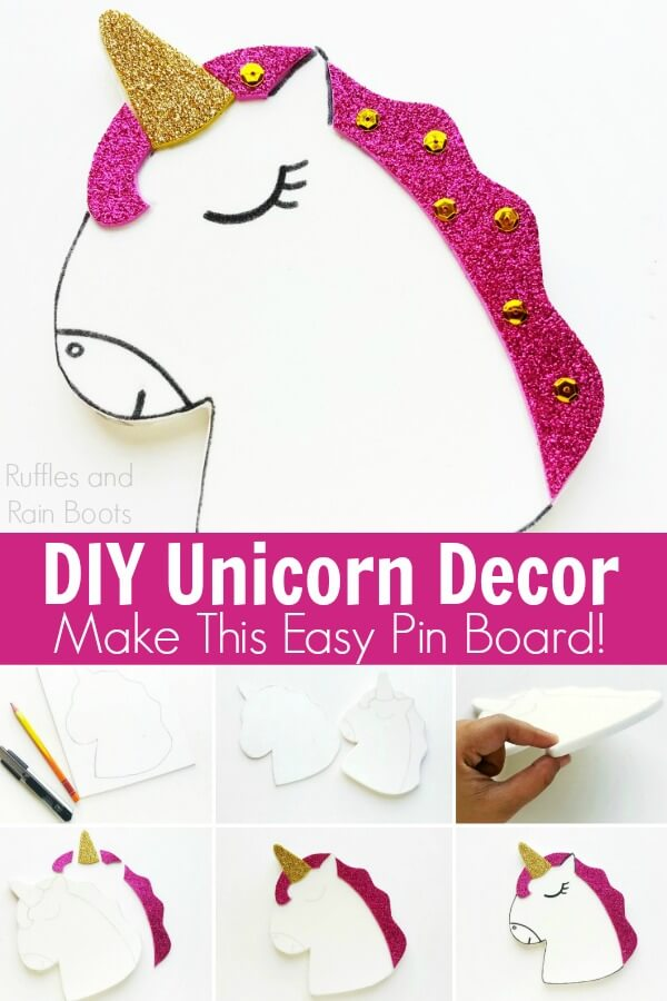 close up of unicorn pin board tutorial on white background with text which reads diy unicorn decor