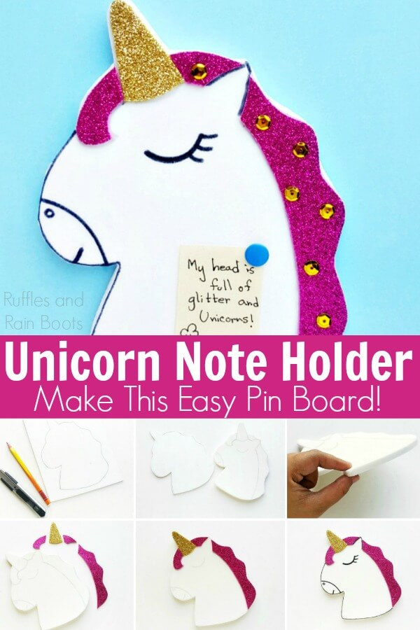 photo collage of how to make a unicorn pin board with text which reads unicorn note holder