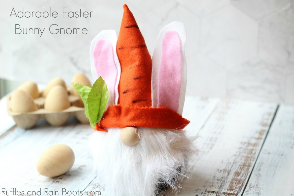 Easter gnome on white wood background with text which reads Adorable Easter Bunny Gnome