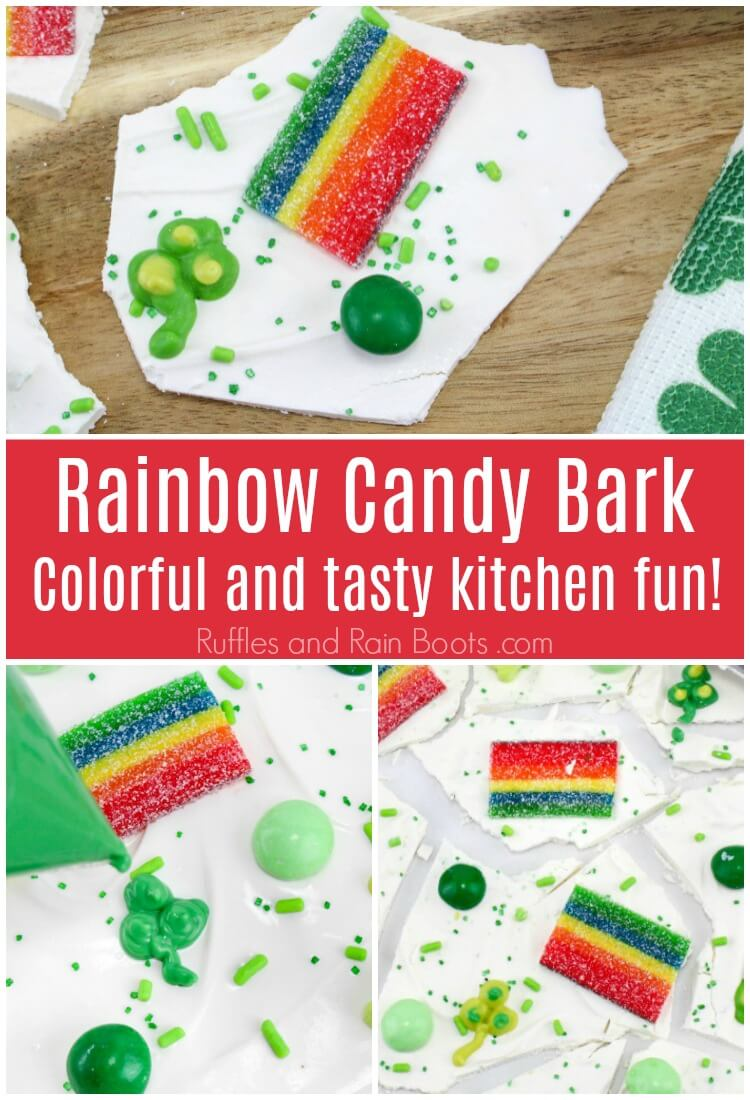 photo collage of St Patrick's Day bark with text which reads rainbow candy bark