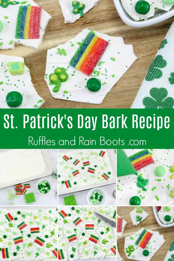 photo collage of how to make rainbow candy bark with text which reads St Patrick's Day bark recipe