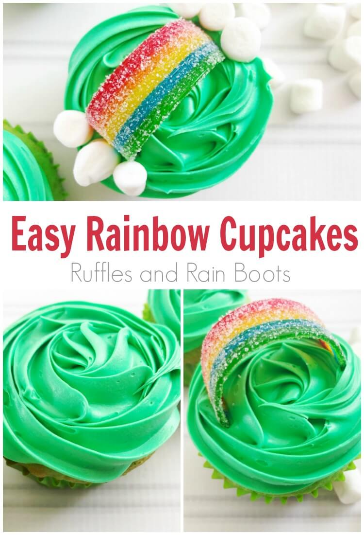 easy cupcakes collage on white wood background with text which reads easy rainbow cupcakes