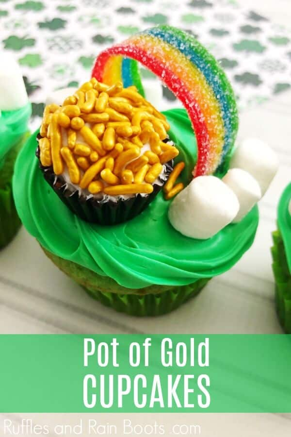 Easy Pot of Gold Cupcakes on wood background