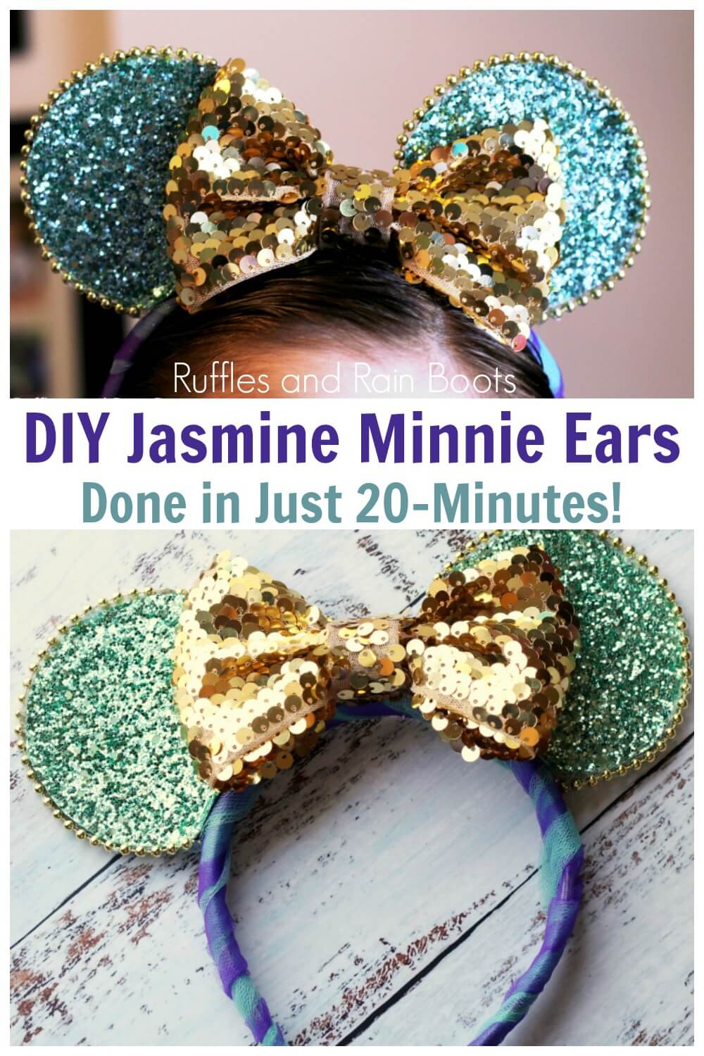 photo collage of Jasmine Minnie Mouse ears with text which reads diy Jasmine minnie ears