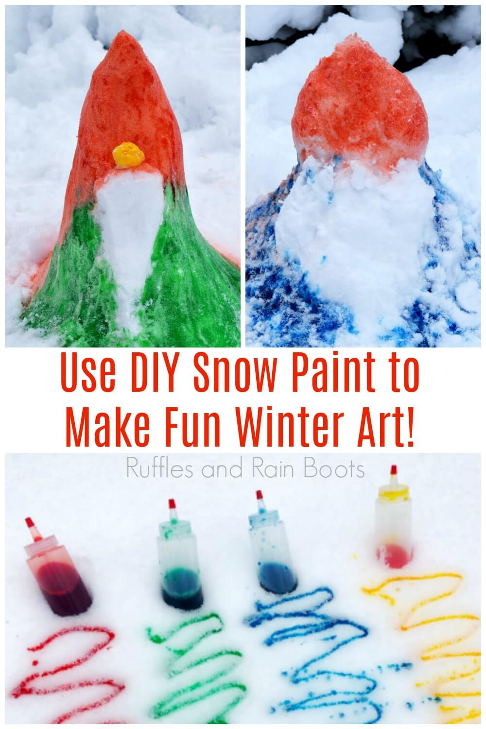 photo collage of snow paint and painted snow gnomes with text which reads use DIY snow paint to make fun winter art