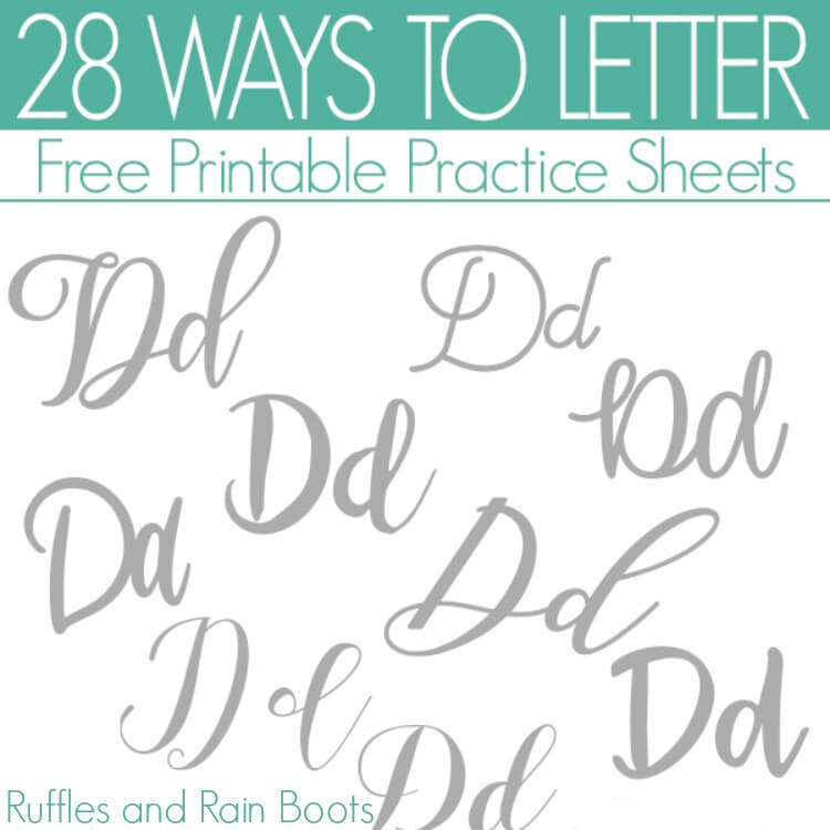 Ways to Letter D – Free Hand Lettering Practice Sheets