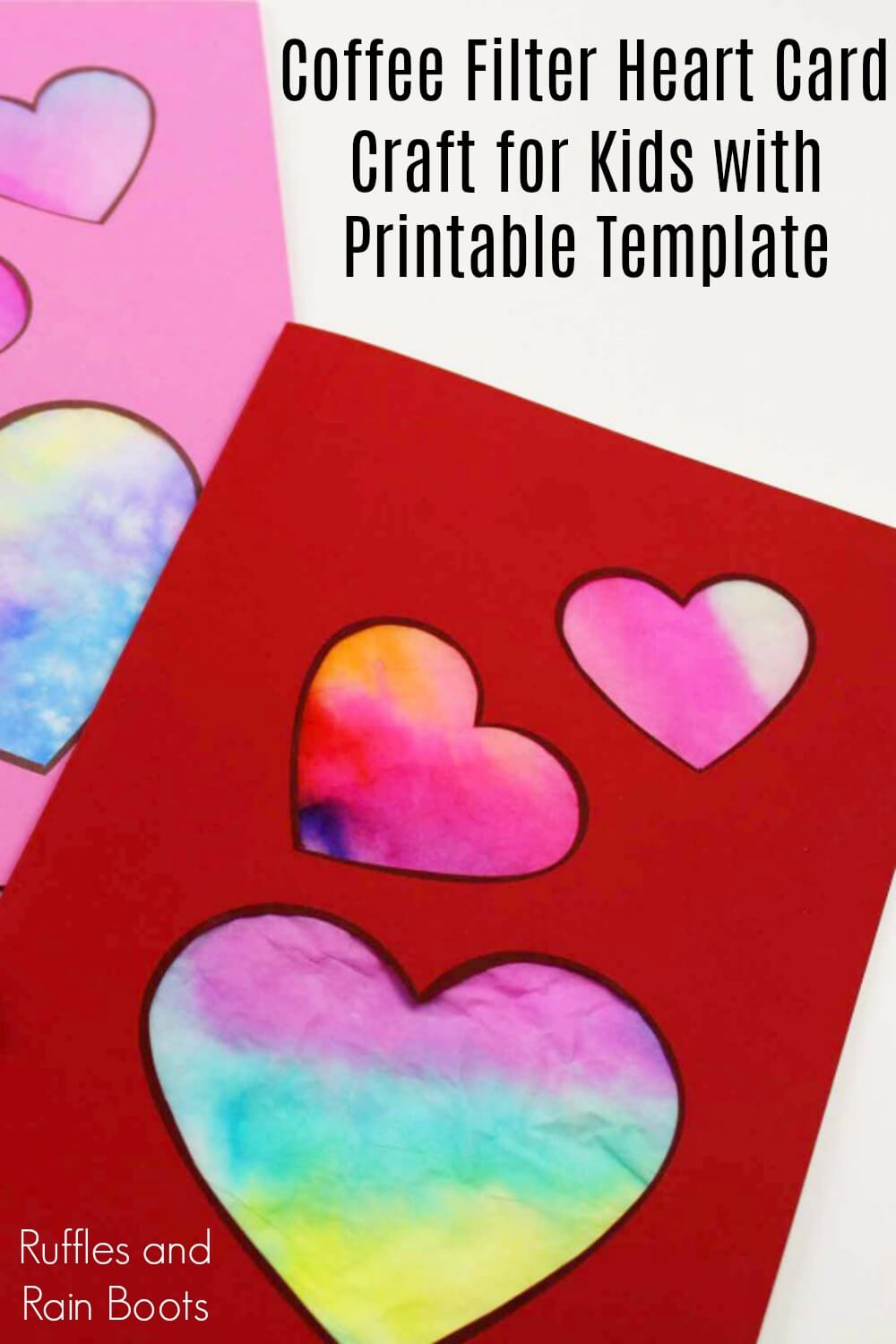 collage of heart cards on white background with text which reads coffee filter heart card