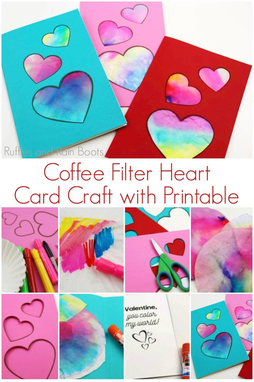 photo collage of handmade cards with text which reads coffee filter heart card data-pin-description=