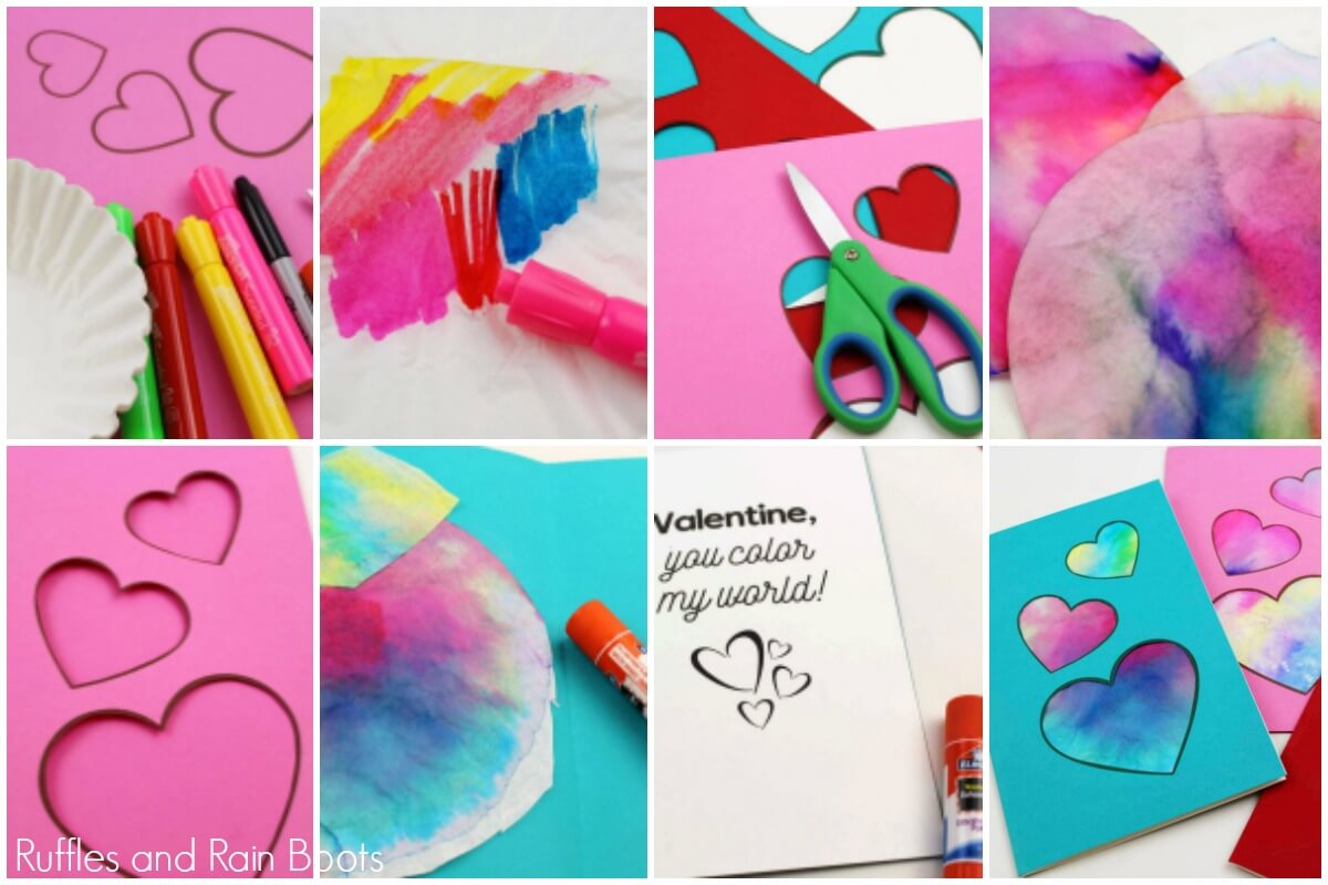 how to make a stained glass coffee filter heart card