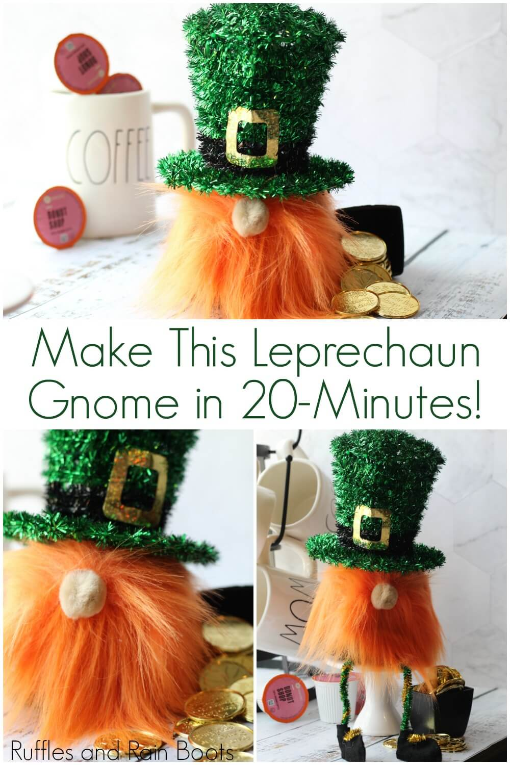 photo collage of St Patricks Day gnome with text which reads Make this leprechaun gnome in 20 minutes