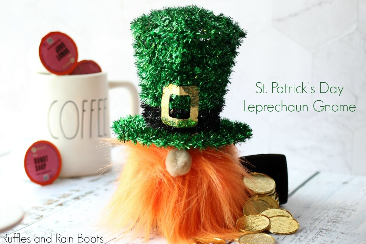 Leprechaun Gnome for St Patricks Day on white background with Rae Dunn coffee mug