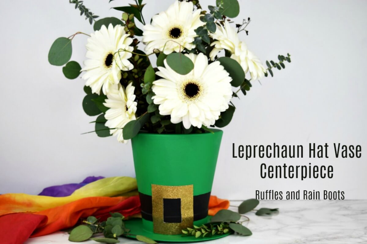 Leprechaun Hat Vase for St Patricks Day on white marble background