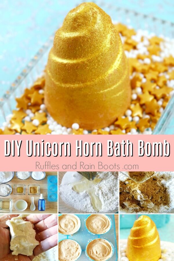 photo collage of unicorn horn bath bombs with top showing a close up picture and bottom half showing step by step picture instructions on how to make unicorn horn bath bombs with text DIY unicorn horn bath bomb