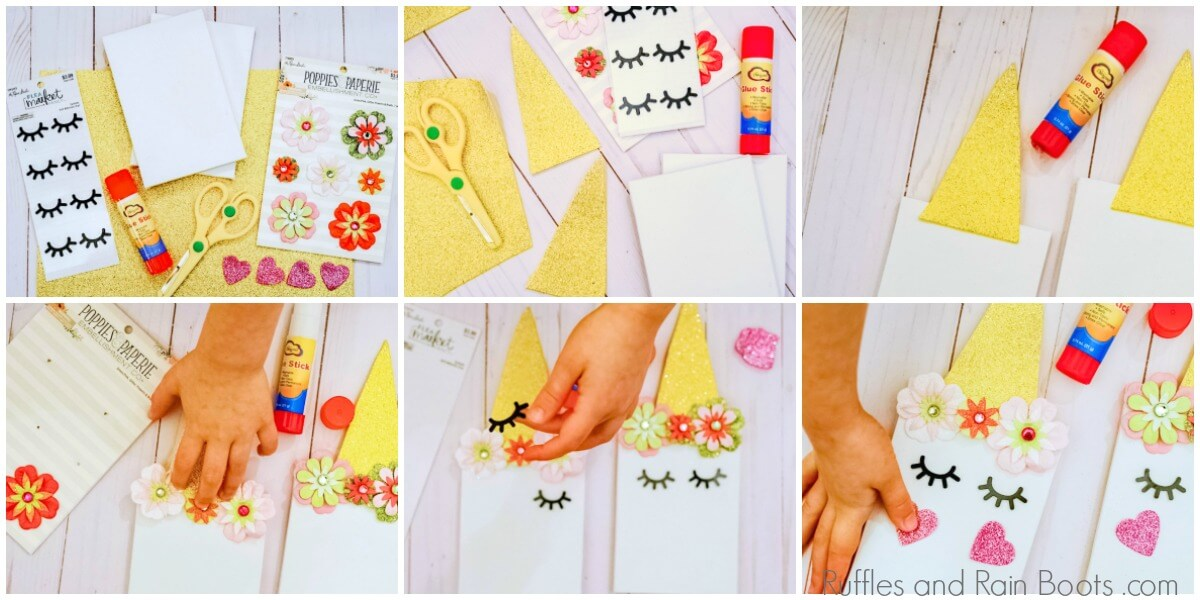step by step picture instructions to make unicorn canvas craft for kids