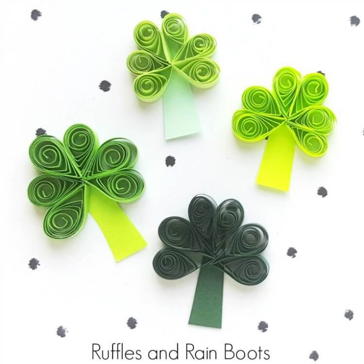 close up of differently colored quilled shamrocks for St Patricks Day