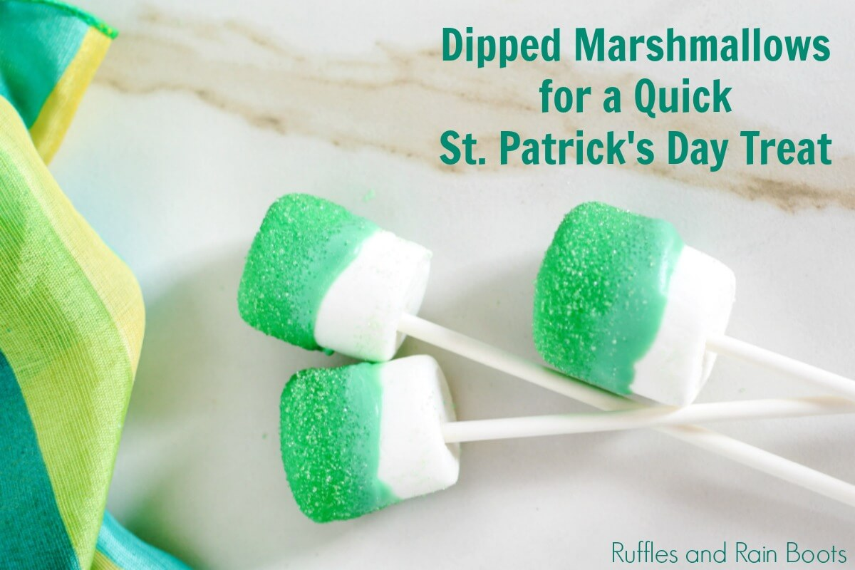 close up of green marshmallows with sprinkles with text which reads dipped marshmallows for a quick st patrick's day treat