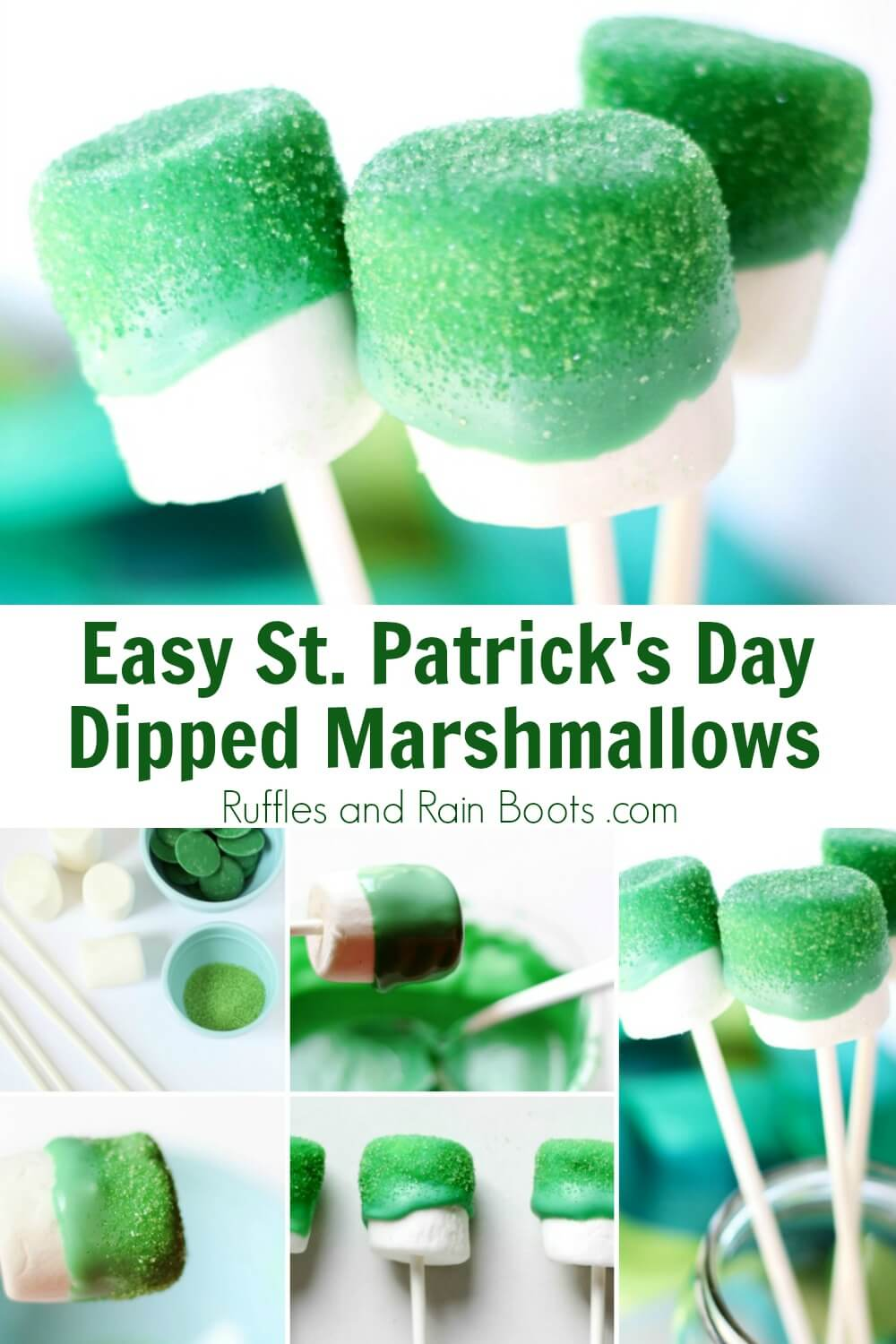 photo collage with text which reads easy st patricks day dipped marshmallows