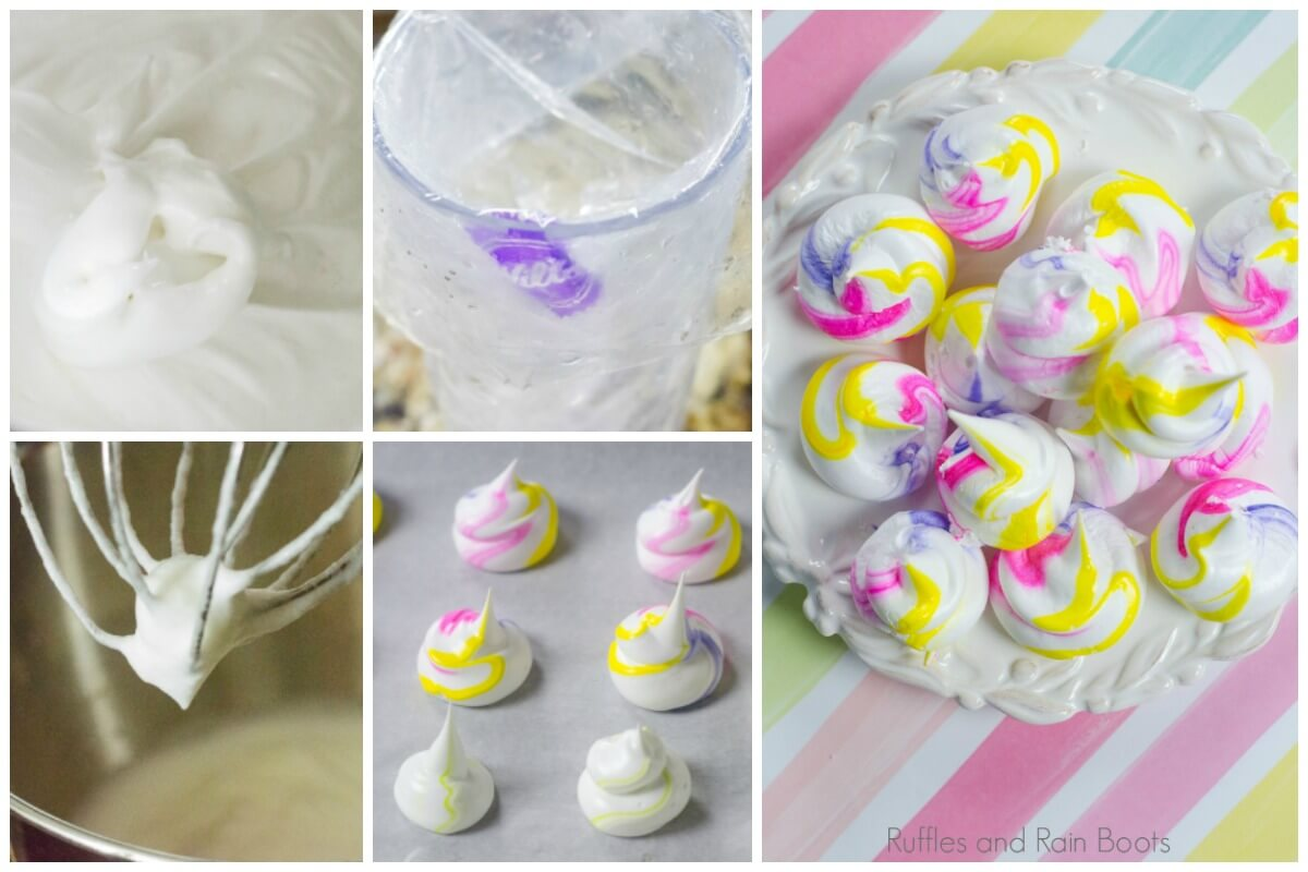 collage of step by step picture instructions to make unicorn meringues