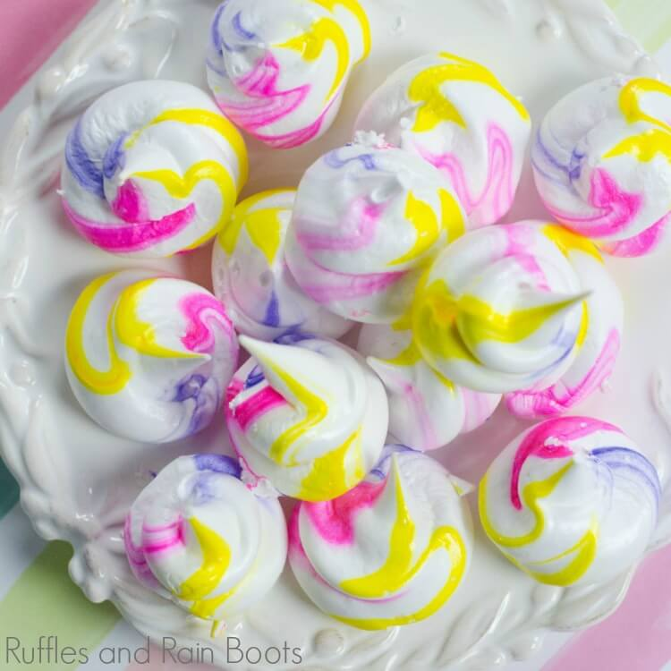 unicorn meringues on white party plate