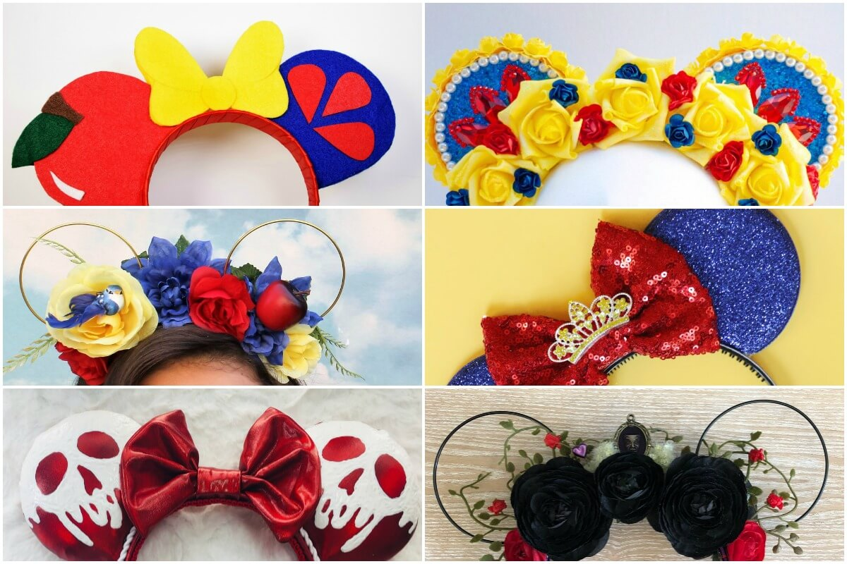 collage of the best snow white minnie ears to make or buy
