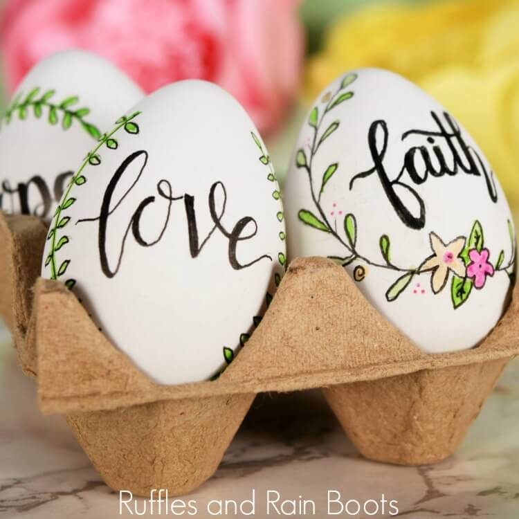 Hand Lettered Easter Eggs