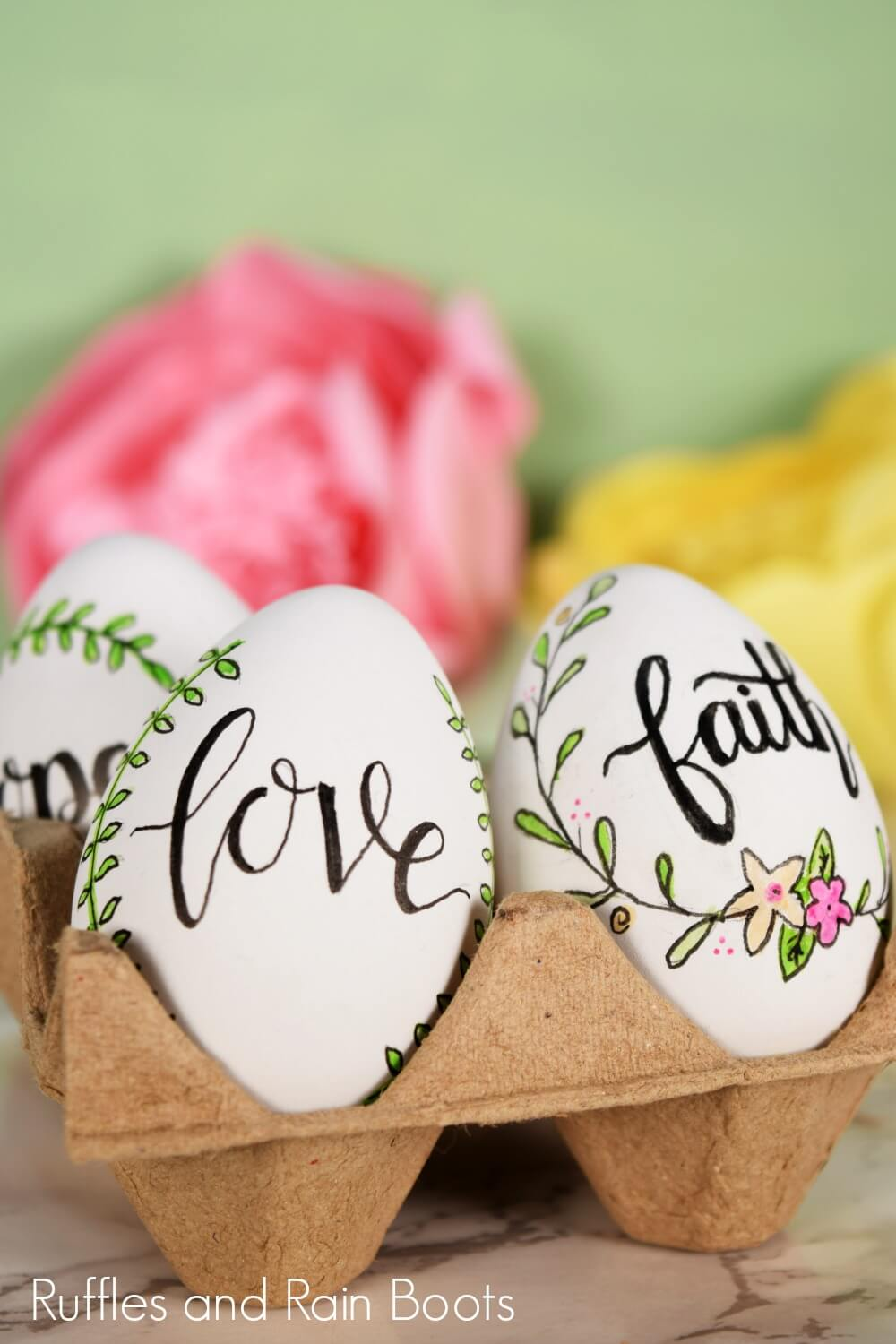 adorable farmhouse decor Easter eggs with hand lettering