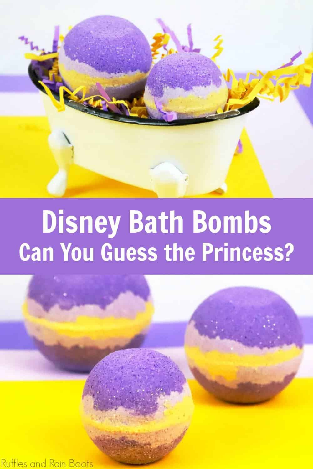 photo collage of purple and gold back bombs with text which reads Disney bath bombs