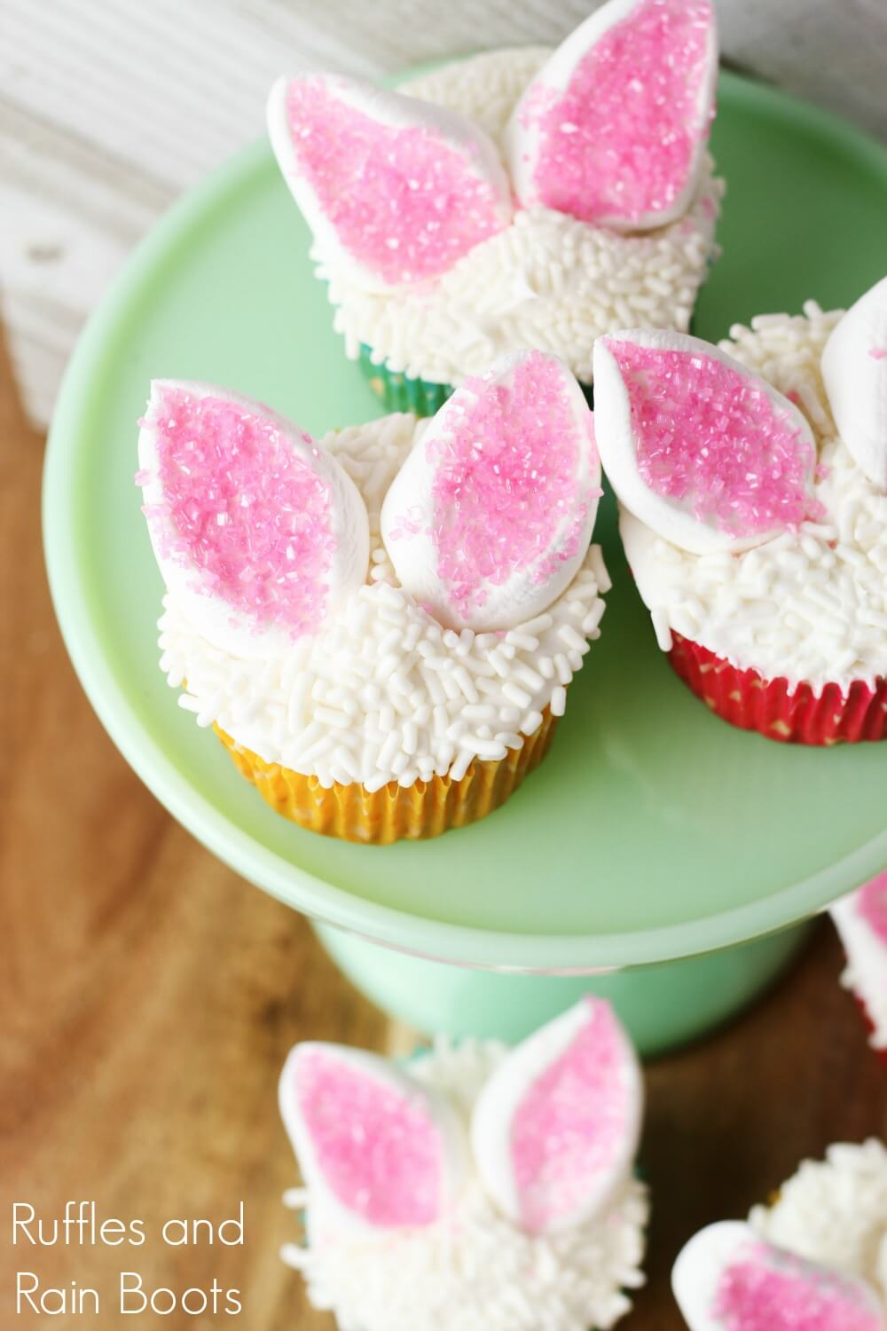 Easter bunny cupcakes on green cake stand
