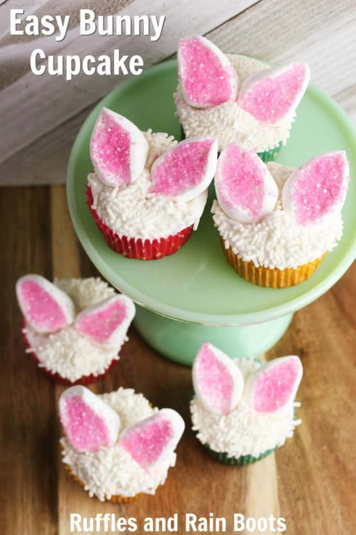 These Easter bunny cupcakes are simple and fun. Click to see how easy they are to put together (and how the kids can help). #easter #cupcakes #cupcakedecorating #Easterdesserts #rufflesandrainboots