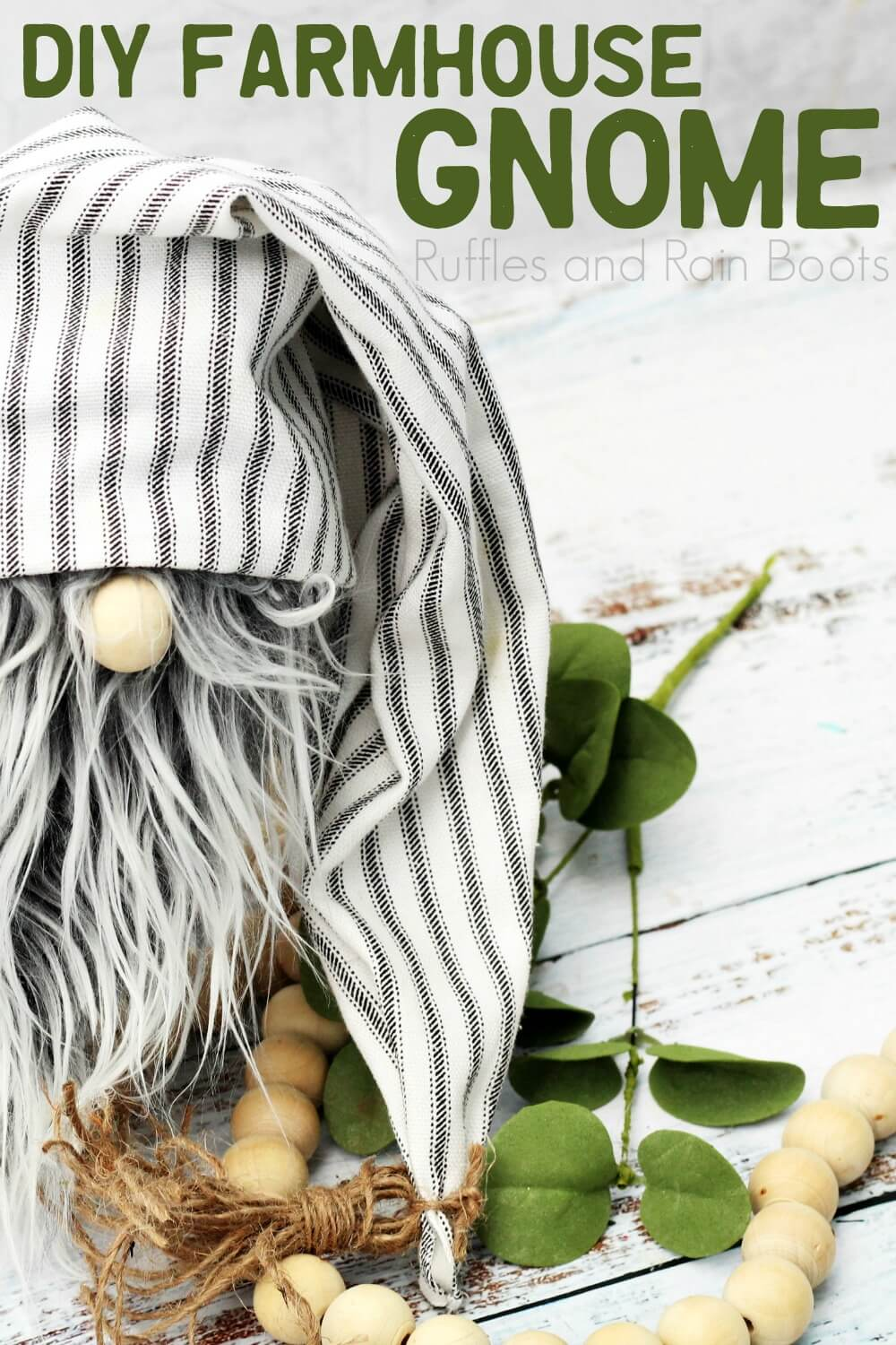 rustic gnome with natural elements on which background with text which reads DIY farmhouse gnome