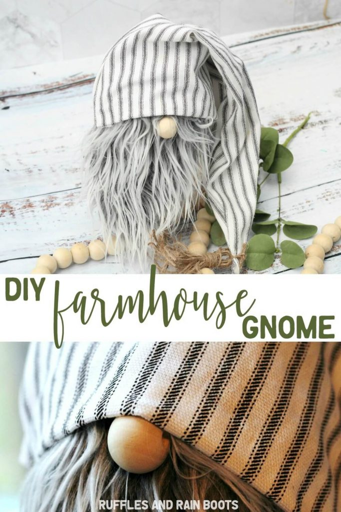 photo collage of adorable no sew gnome with text which reads diy farmhouse gnome