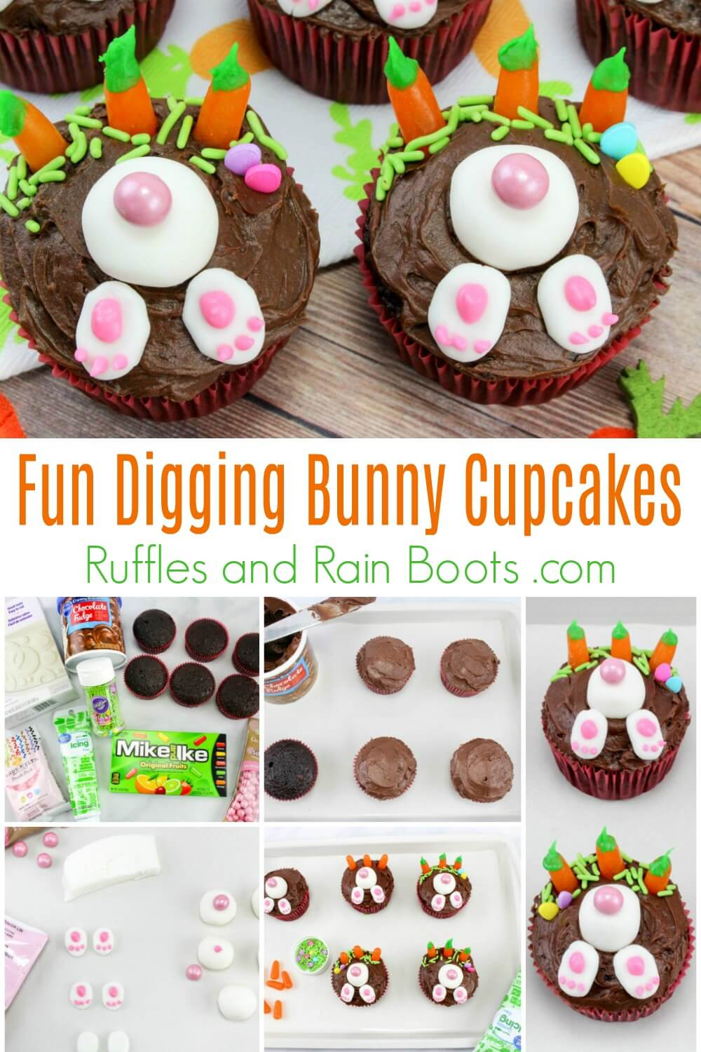 photo collage of how to make adorable bunny cupcakes for Easter with text which reads Fun Digging Bunny Cupcakes