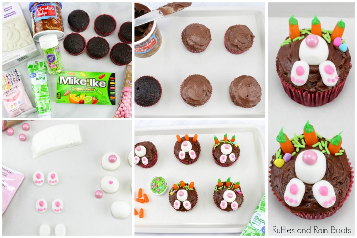step by step instructions for making bunny cupcakes for Easter