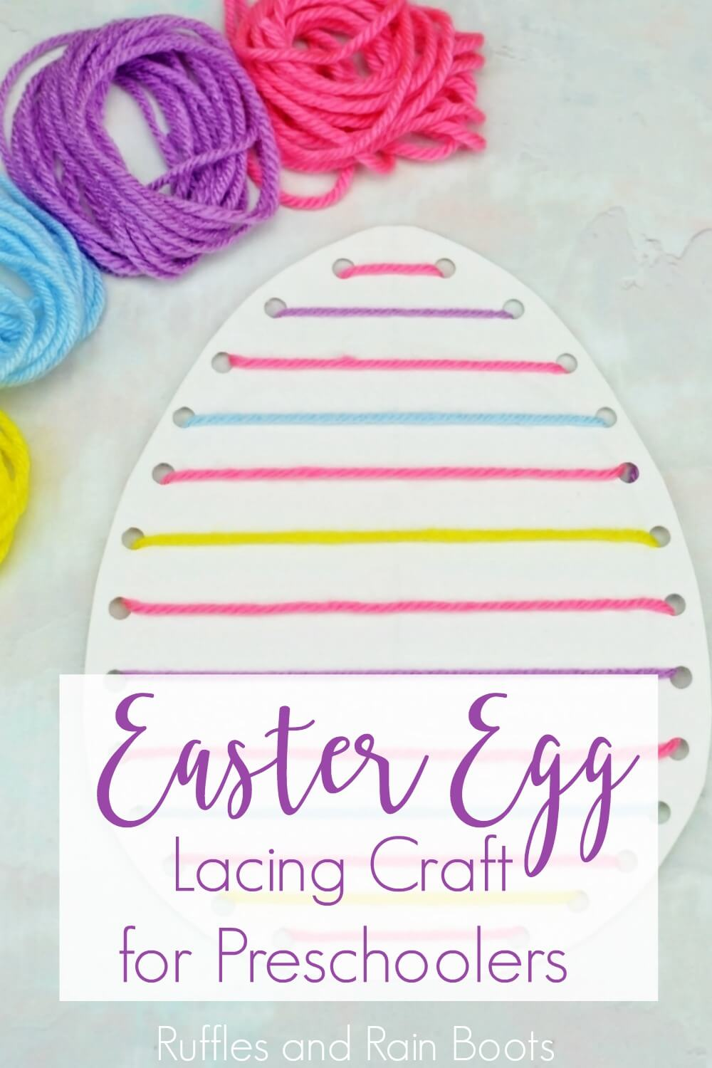 Easter egg lacing craft on white background with text Easter egg Lacing Craft for Preschoolers