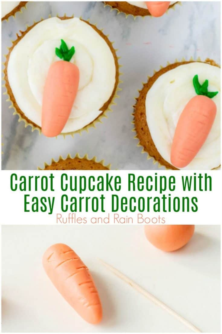 These carrot cupcakes are made with a carrot cake recipe and the cutest little topper. Click to get the creamy cake recipe. #rufflesandrainboots #cupcakes #easterdesserts