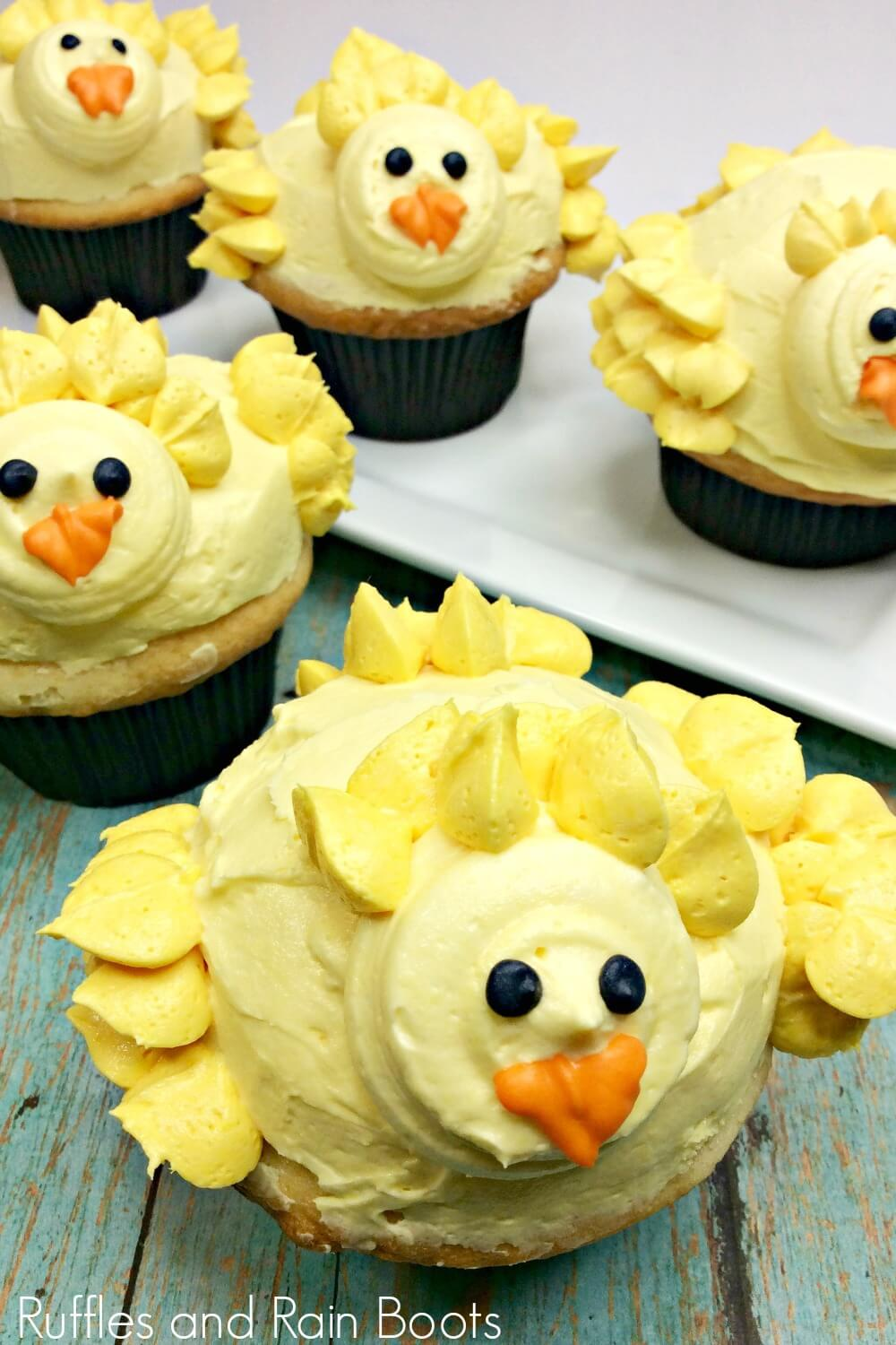 chick cupcakes for Easter on green table