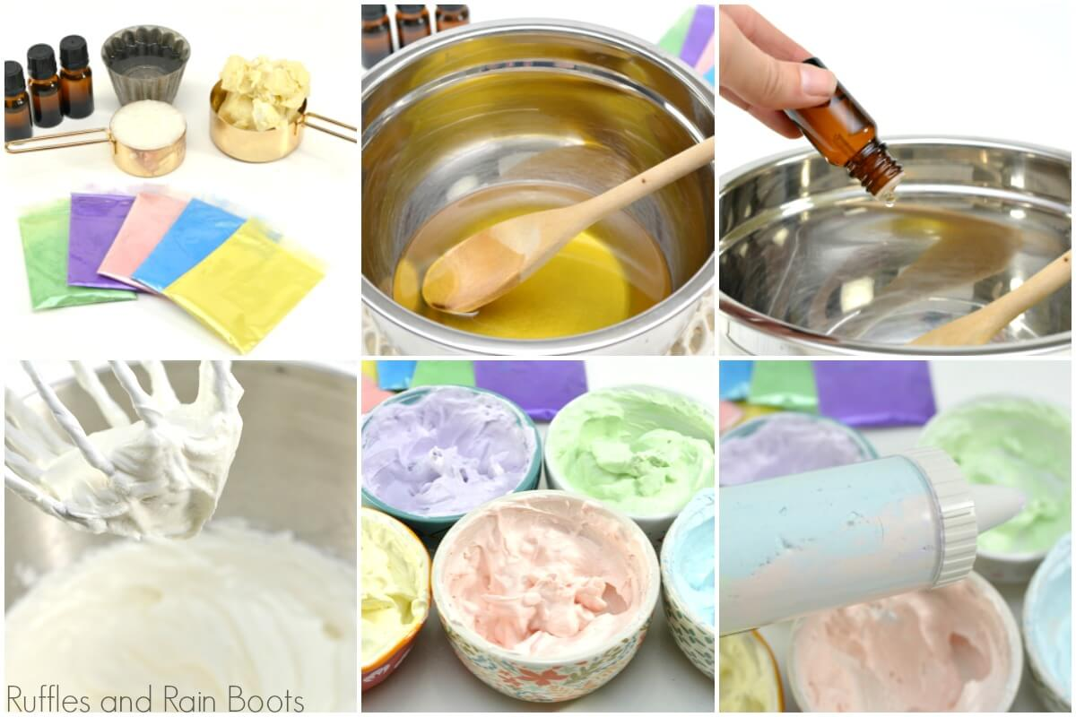 step by step picture directions of how to make rainbow body butter