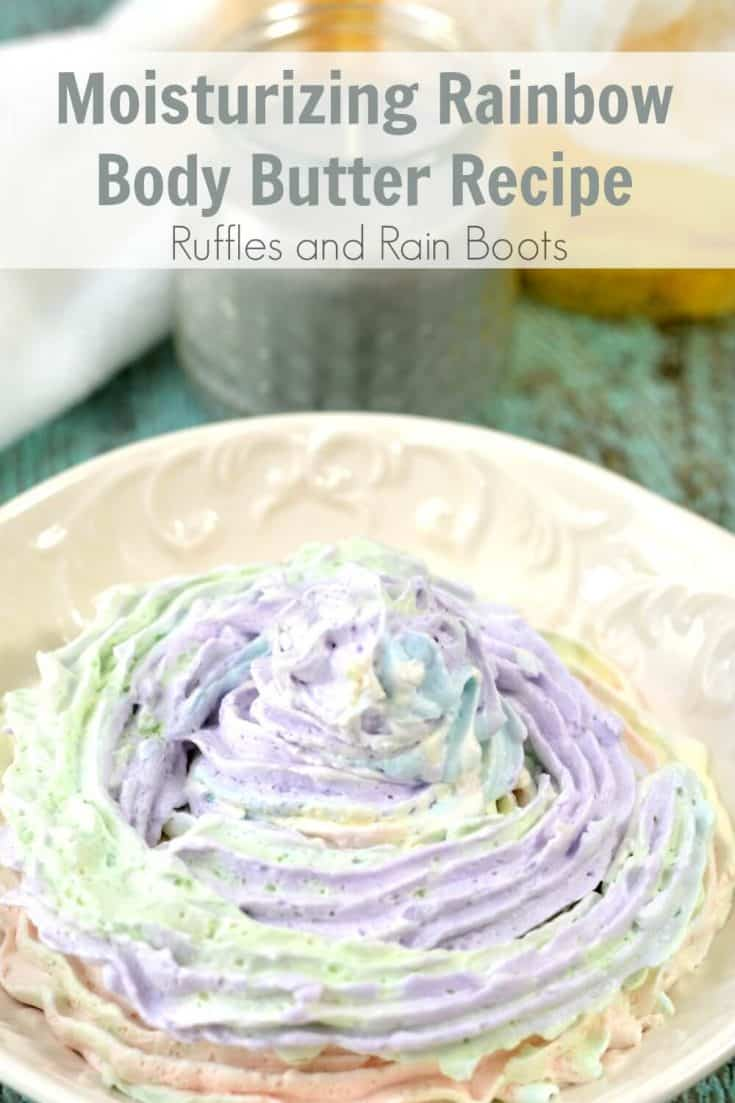 This rainbow body butter is a fun and easy way to start making your own DIY bath products. Using skin-safe and moisturizing ingredients, click to make this lotion for yourself or others.