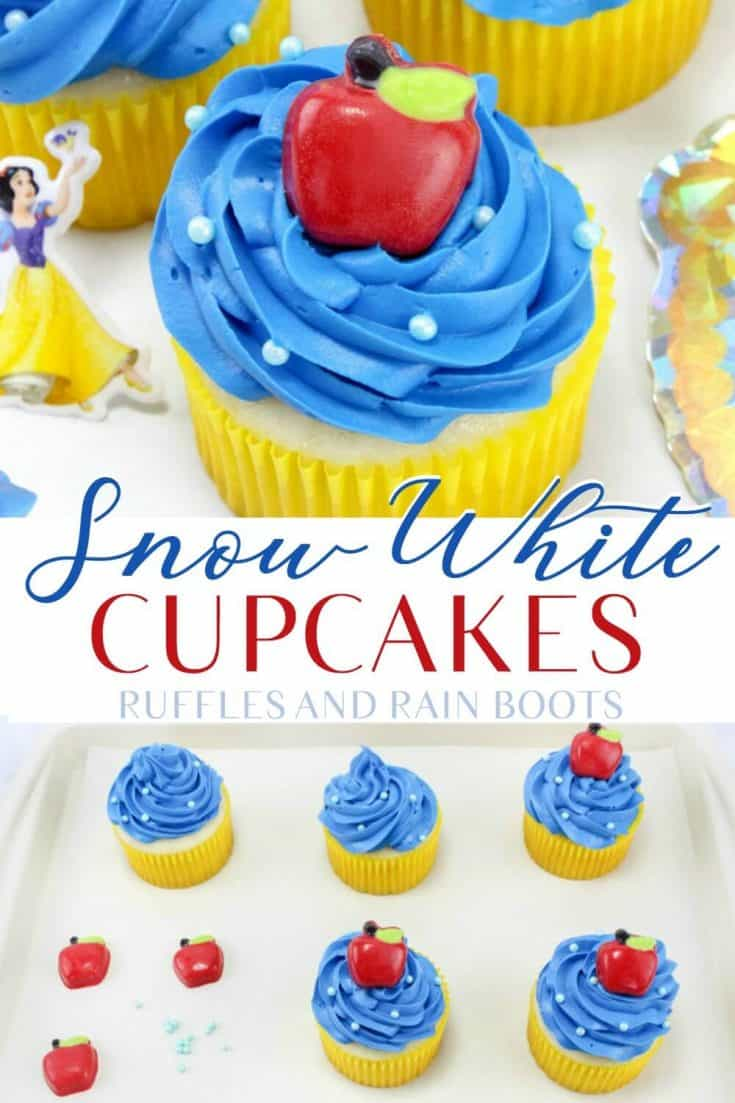 Easy Snow White cupcakes are the perfect princess party treat. Click to see the variations to make this fun cupcake even easier! #SnowWhite #princessparty #easycupcakeideas #cupcakedecorating #rufflesandrainboots