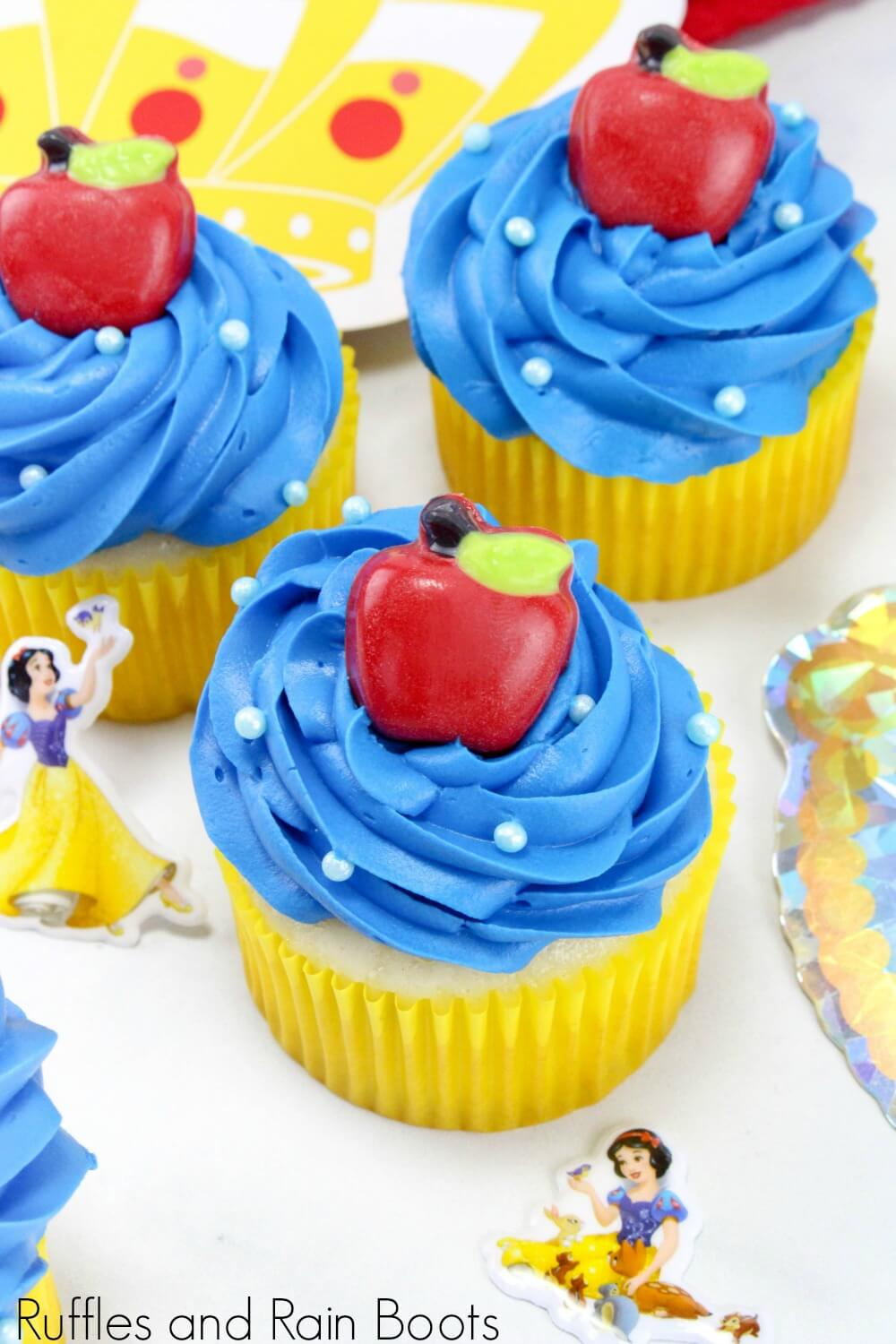 colorful Snow White cupcakes for a princess party idea