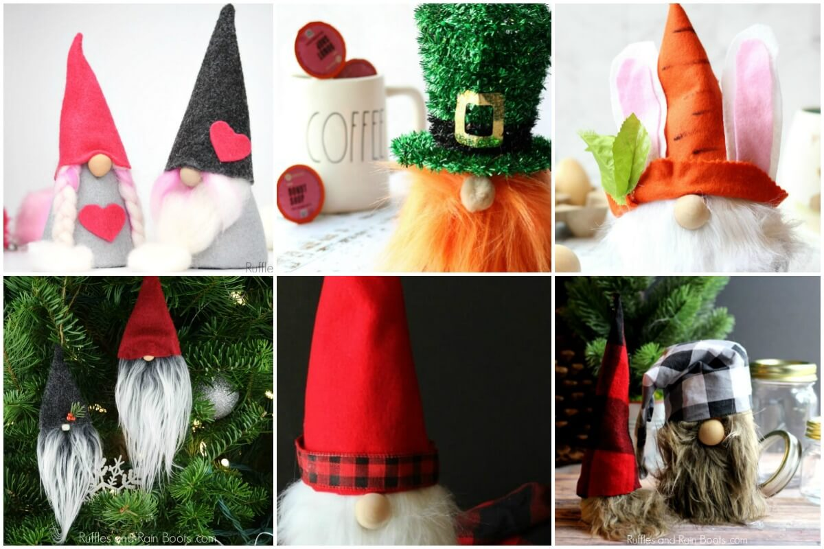 DIY gnome tutorials photo collage with no text