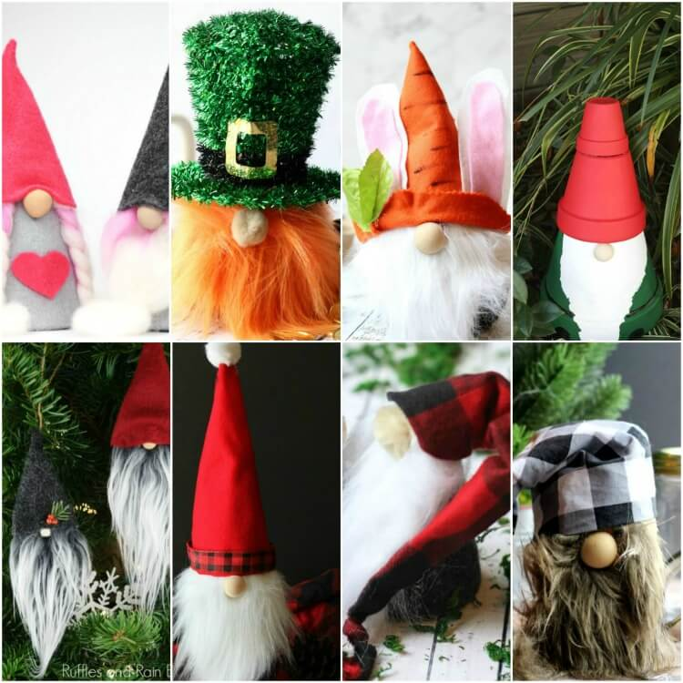 square image of photo collage of DIY gnome tutorials
