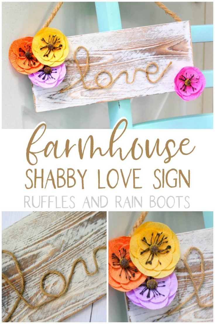 This beautiful farmhouse sign for spring is a must for any spring farmhouse! Click here to see how simple adding this sign to your handmade farmhouse decorations can be! #farmhousesignforspring #farmhousesign #springfarmhouse #farmhousecrafts  #springfarmhousecrafts #rufflesandrainboots