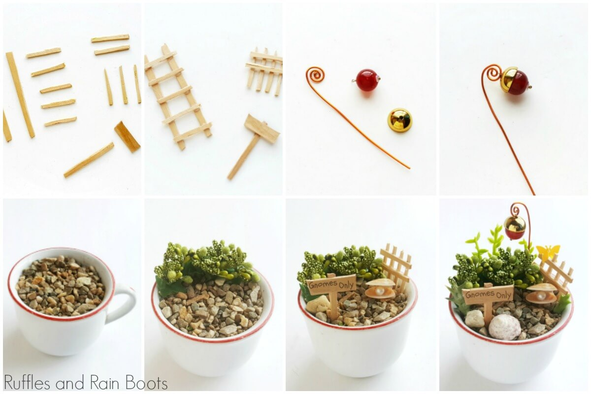 how to make a Gnome Teacup Garden photo collage of steps