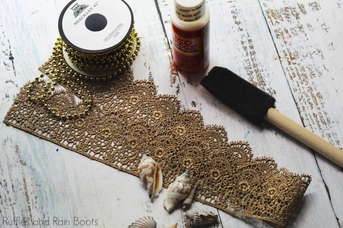 supplies necessary for how to make a Mermaid Crown for Costumes or Dressup on a white background