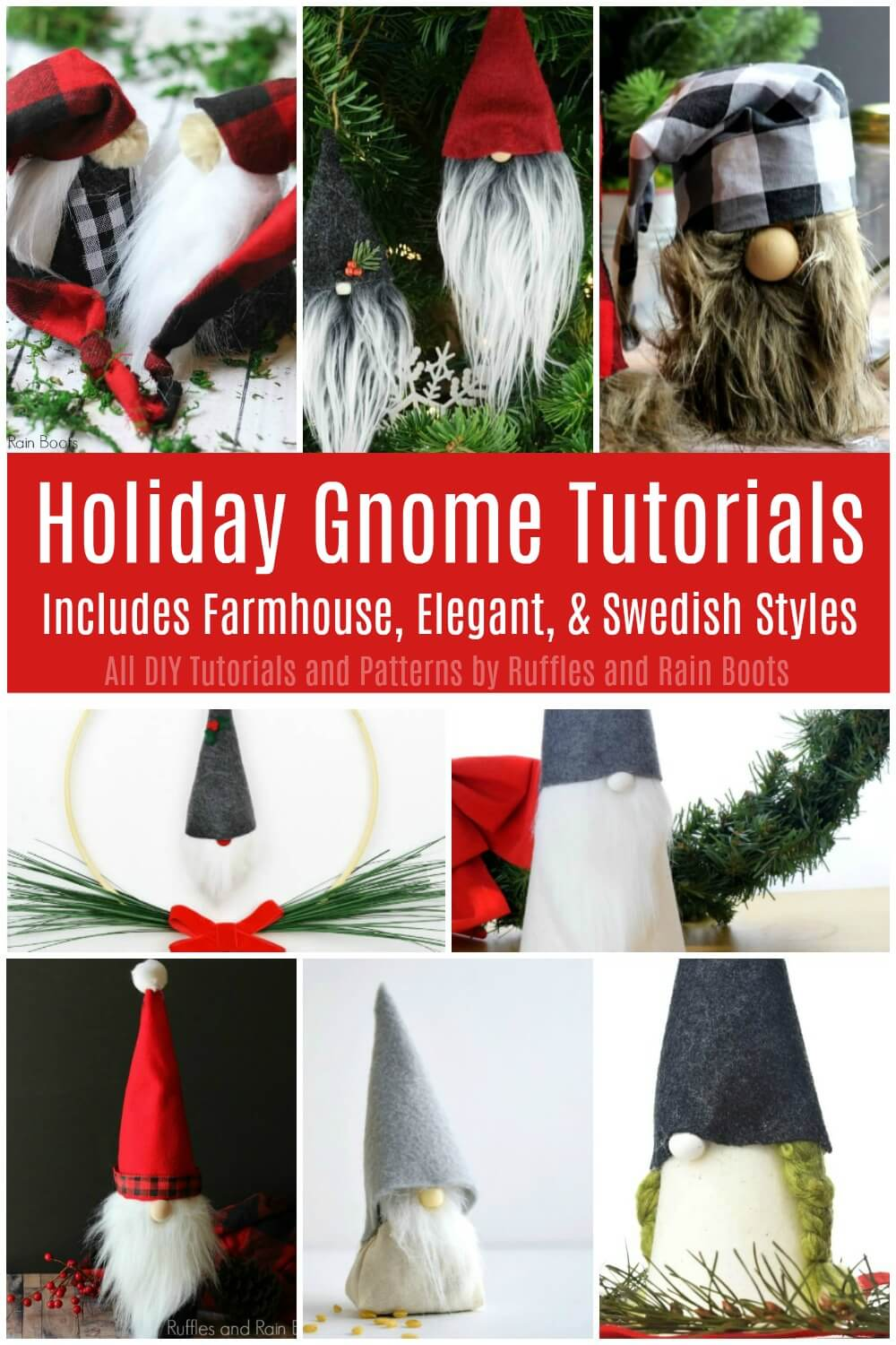Christmas gnomes collage with text which reads Holiday Gnome tutorials