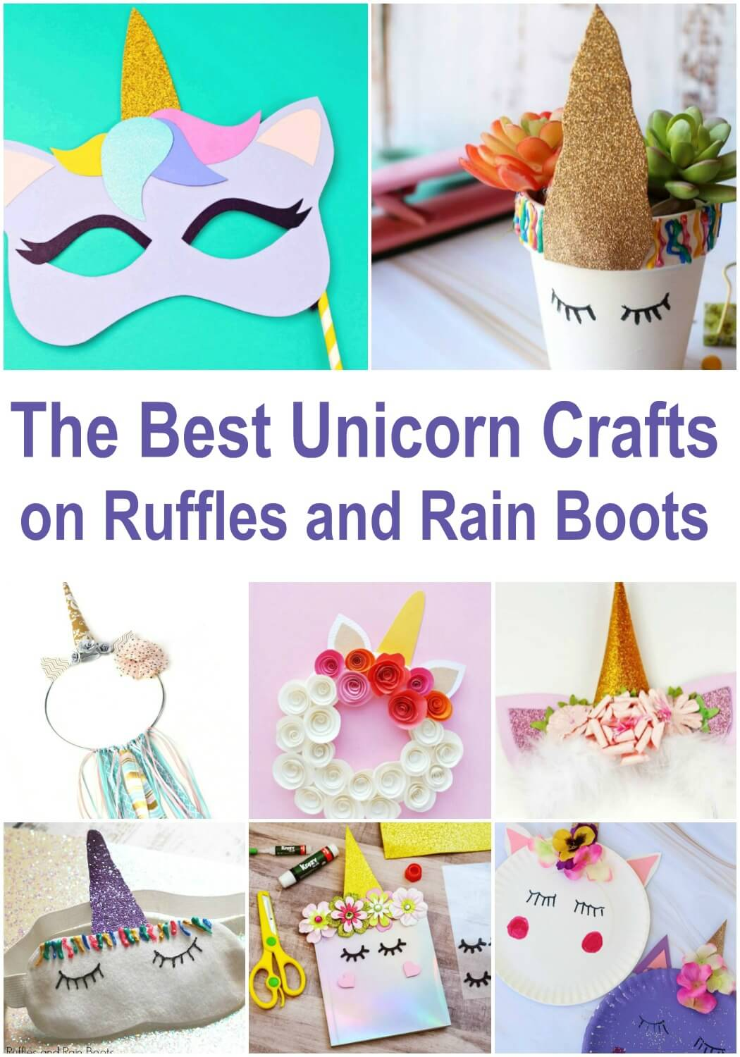photo collage of unicorn DIY with text which reads the best unicorn crafts