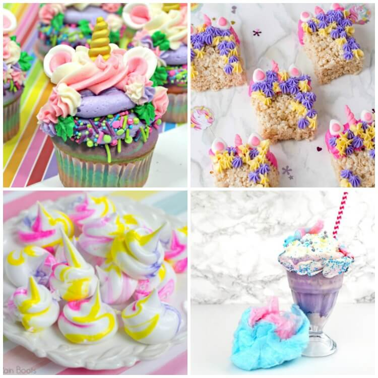 square collage of unicorn food ideas