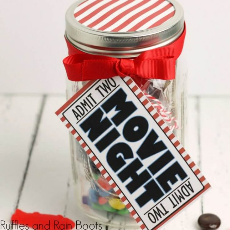 movie night in a jar craft project on a white background